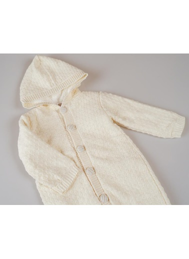 POKY Yeni Sezon Kız Erkek Bebek Nopen Örgülü Pamuklu Triko Tulum-12898 Krem